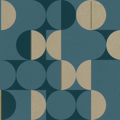 Sample Navy & Gold Metallic Circles in Motion Wallpaper by Walls Republic