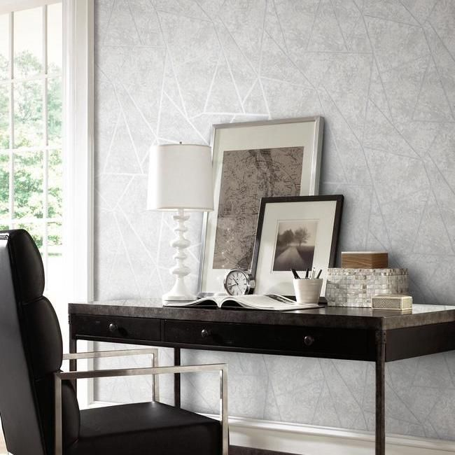 Nazca Wallpaper in Light Grey and Silver by Antonina Vella for York Wallcoverings
