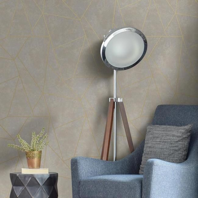 Nazca Wallpaper in Neutral and Gold by Antonina Vella for York Wallcoverings