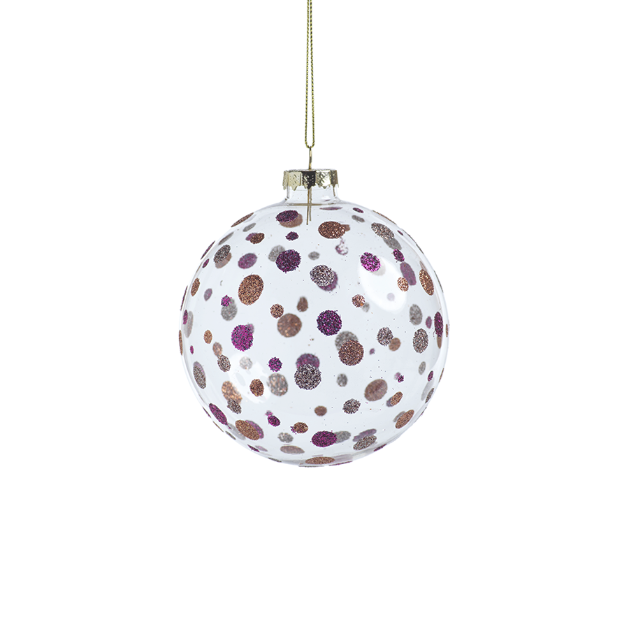 Neve Glittered Polka Dot Holiday Ball Ornament