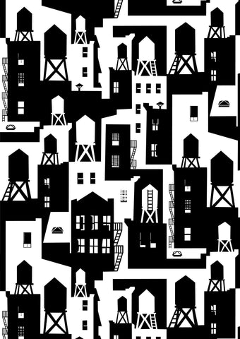 New York City Watertowers Wallpaper in Black & White design by Tom Slaughter for Cavern Home