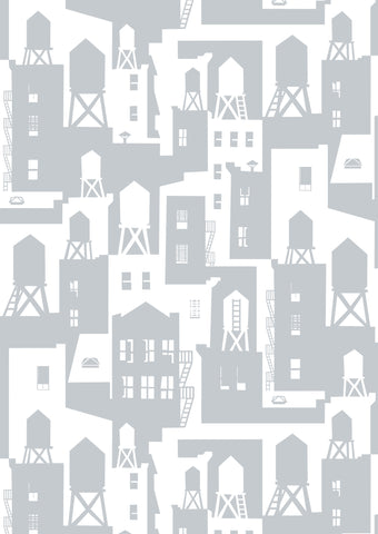 New York City Watertowers Wallpaper in Shadow design by Tom Slaughter for Cavern Home