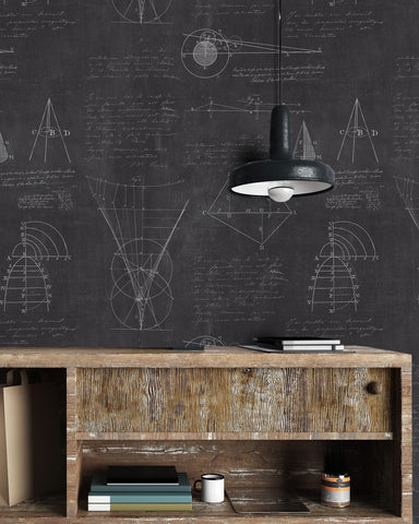 Newton Geometry Wallpaper in Charcoal Black from the Eclectic Collection by Mind the Gap