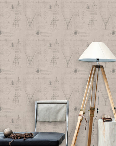 Newton Geometry Wallpaper in Taupe from the Eclectic Collection by Mind the Gap