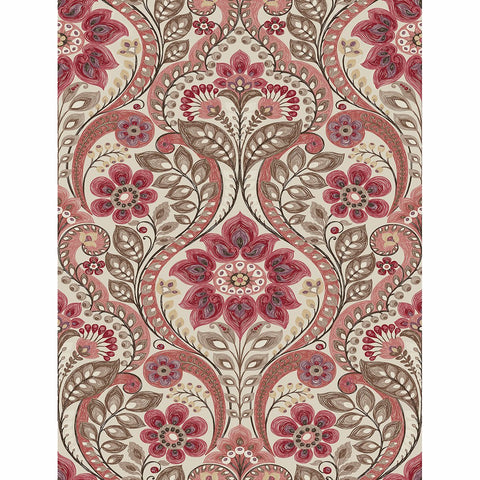 Watermelon, dusty rose, coral, red, and maroon are some of the colors to be found in this folk style damask. A grey background balances out the design. Night Bloom is a non woven blend, prepasted wallpaper.