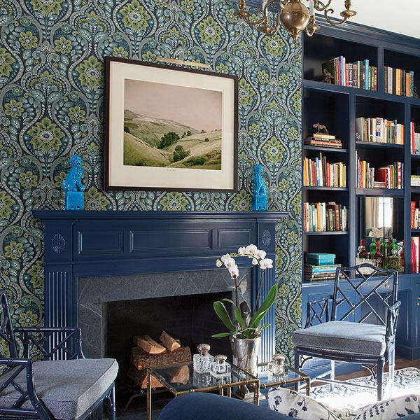 Night Bloom Damask Wallpaper in Navy from the Moonlight Collection by Brewster Home Fashions
