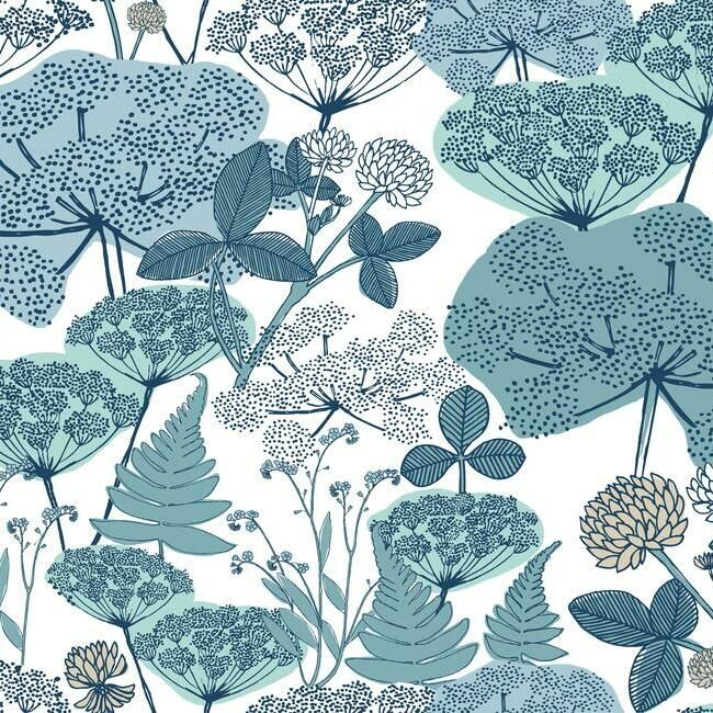 Niittypolku Peel Stick Wallpaper In Blue And White By Roommates For Burke Decor