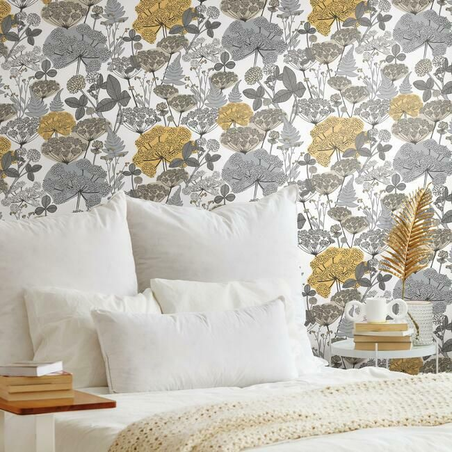 Niittypolku Peel Stick Wallpaper In Yellow And Grey By Roommates For Burke Decor
