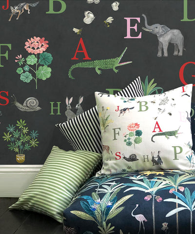 Noah's ABC Wallpaper (Two Roll Set) in Ebony by Bethany Linz for Milton & King