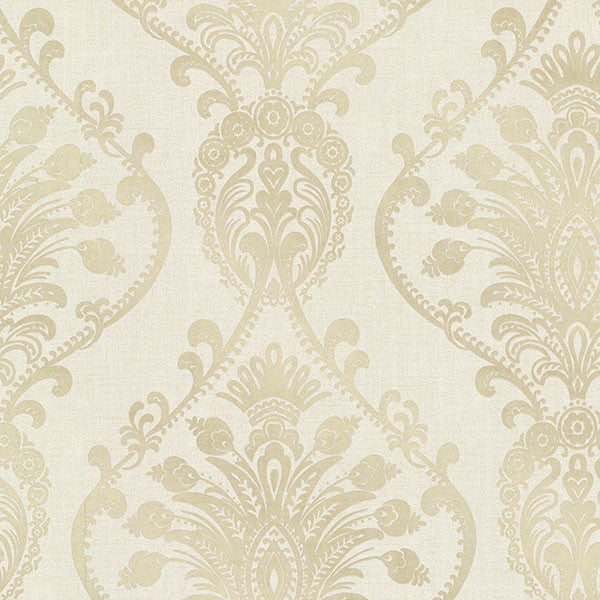 Sample Noble Fog Ornate Damask Wallpaper from the Avalon Collection by Brewster Home Fashions
