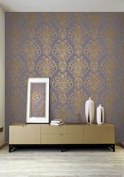 Noble Ornate Damask Wallpaper from the Avalon Collection by Brewster Home Fashions