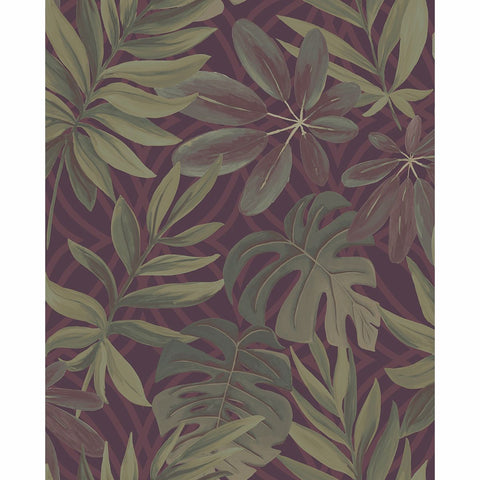 Nocturnum Leaf Wallpaper in Maroon from the Moonlight Collection by Brewster Home Fashions