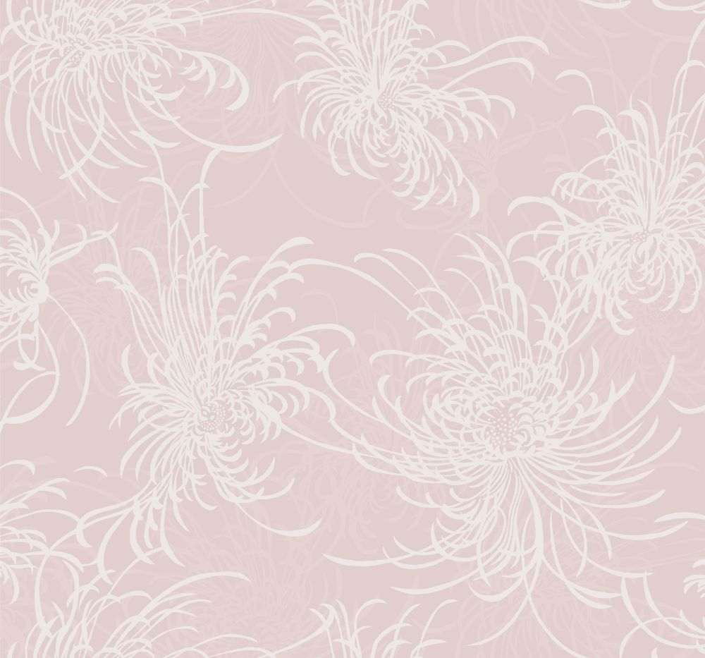 Noell Floral Wallpaper in Blush Glitter and Off-White from the Casa Blanca II Collection by Seabrook Wallcoverings