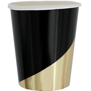 Set of 8 Noir Black Colorblock Party Cups design by Harlow & Grey