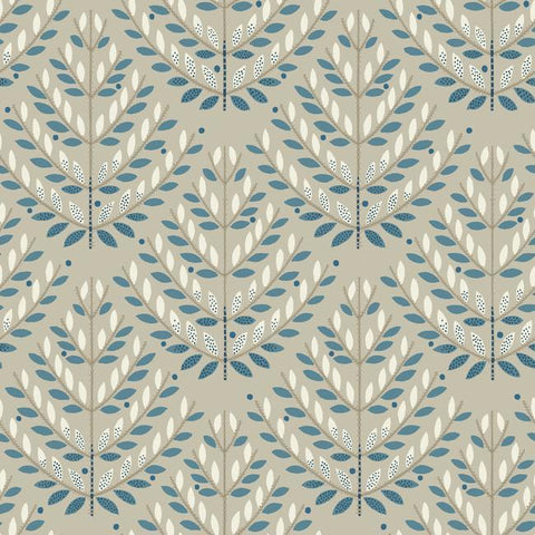 Norrland Wallpaper in Beige and Blue from the Norlander Collection by York Wallcoverings