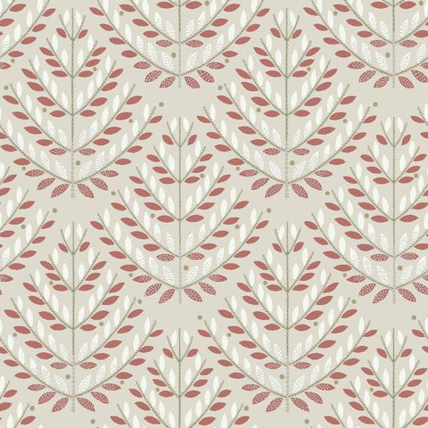 Norrland Wallpaper in Beige and Red from the Norlander Collection by York Wallcoverings