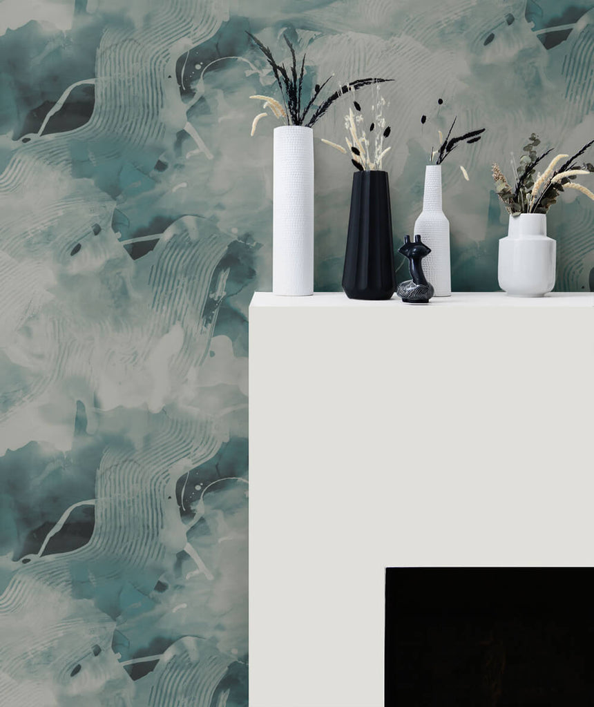 Notch Trowel Abstract Wallpaper in Sea Green and Pearl from the Living With Art Collection by Seabrook Wallcoverings