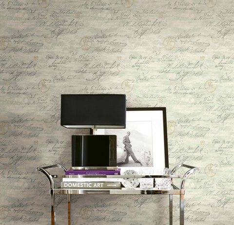 Nouveau Calligraphy Wallpaper in Heather from the Nouveau Collection by Wallquest