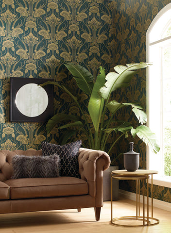 Nouveau Damask Wallpaper from the Deco Collection by Antonina Vella for York Wallcoverings