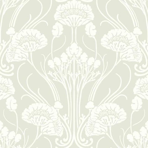 Nouveau Damask Wallpaper in Beige and Ivory from the Deco Collection by Antonina Vella for York Wallcoverings