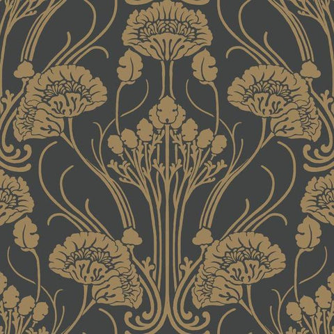 Nouveau Damask Wallpaper in Black and Gold from the Deco Collection by Antonina Vella for York Wallcoverings