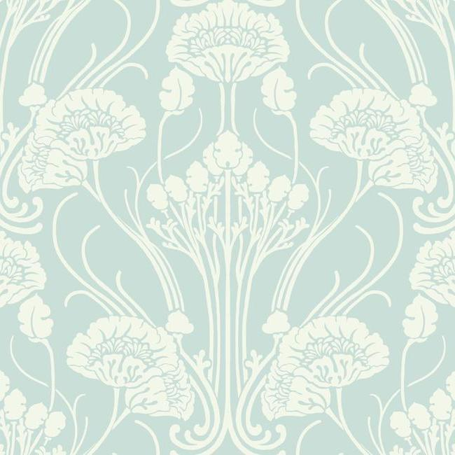 Sample Nouveau Damask Wallpaper in Blue and Ivory from the Deco Collection by Antonina Vella for York Wallcoverings