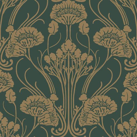 Nouveau Damask Wallpaper in Green and Gold from the Deco Collection by Antonina Vella for York Wallcoverings