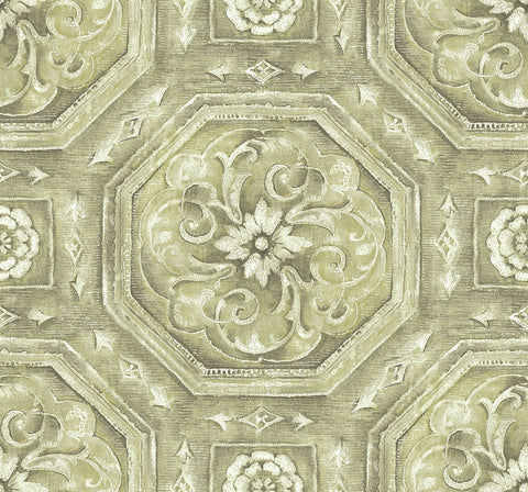 Nouveau Tile Wallpaper in Gilded from the Nouveau Collection by Wallquest
