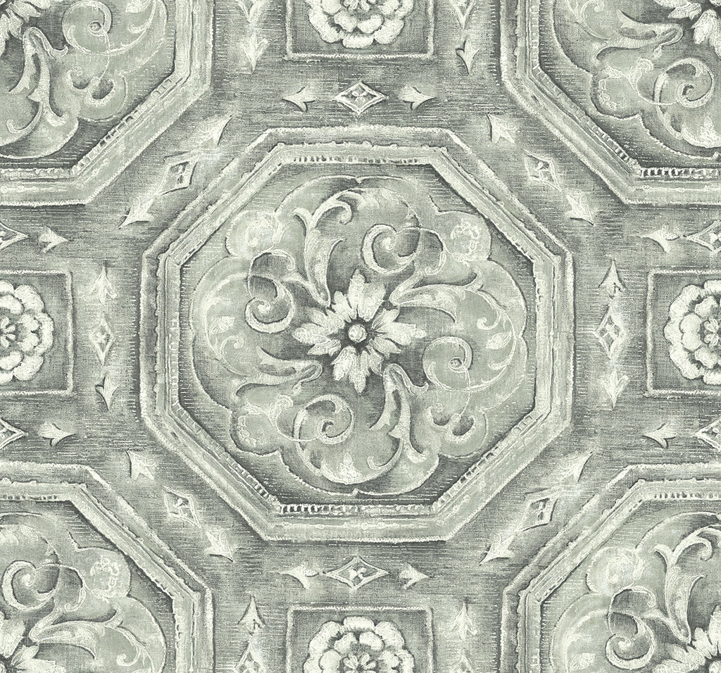 Sample Nouveau Tile Wallpaper in Silver from the Nouveau Collection by Wallquest