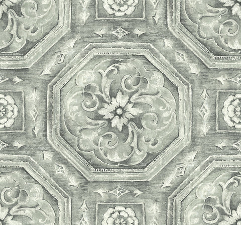 Nouveau Tile Wallpaper in Silver from the Nouveau Collection by Wallquest