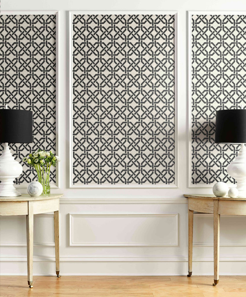 Nouveau Trellis Wallpaper In Black And White From The