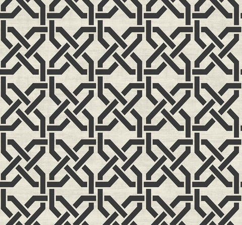 Nouveau Trellis Wallpaper in Black and White from the Nouveau Collection by Wallquest