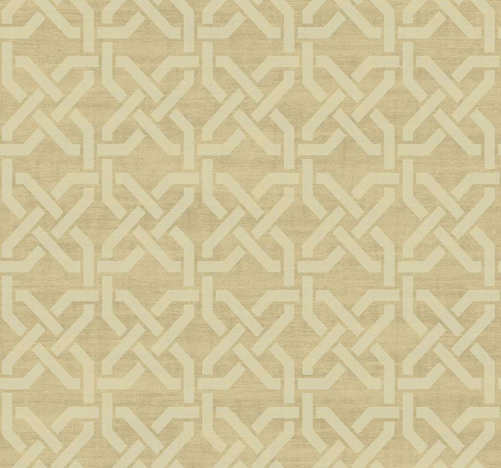 Sample Nouveau Trellis Wallpaper in Gilded from the Nouveau Collection by Wallquest