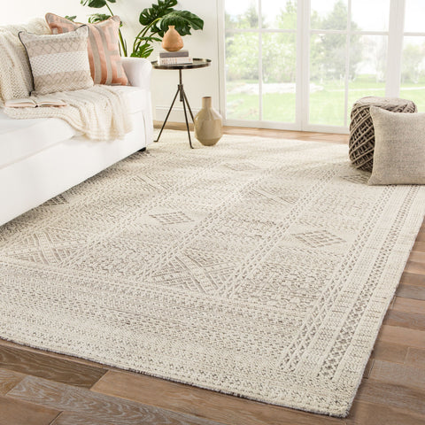 Jadene Hand-Knotted Geometric White/ Light Gray Area Rug by Jaipur Living