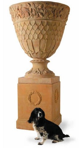 Oak Leaf Giant Urn in Terracotta Finish design by Capital Garden Products