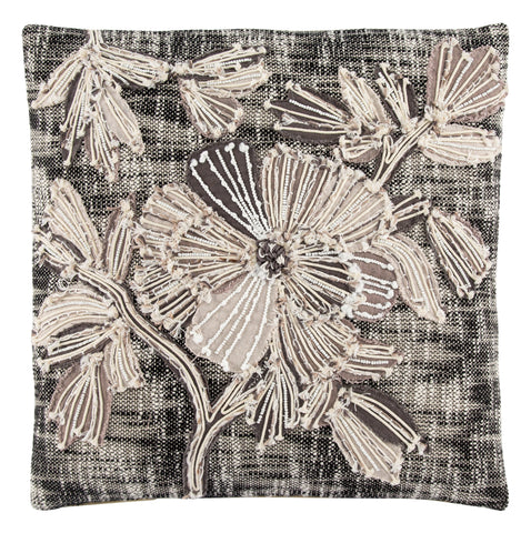 Rosetti Black/ Gray Floral Throw Pillow by Nikki Chu