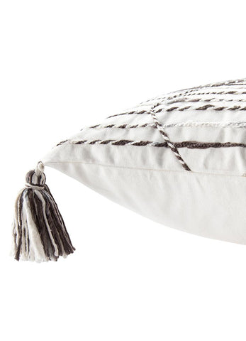 Nyx White/ Brown Trellis Throw Pillow by Nikki Chu