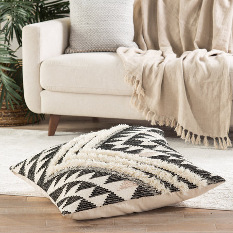 Nomadic Chevron Cream & Black Pillow design by Nikki Chu for Jaipur Living