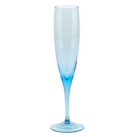Optic Champagne Flute in Aquamarine