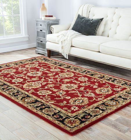 Anthea Handmade Floral Red & Black Area Rug