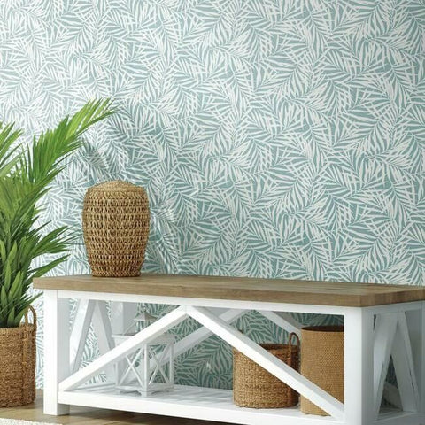 Oahu Fronds Wallpaper in Blue from the Water's Edge Collection by York Wallcoverings