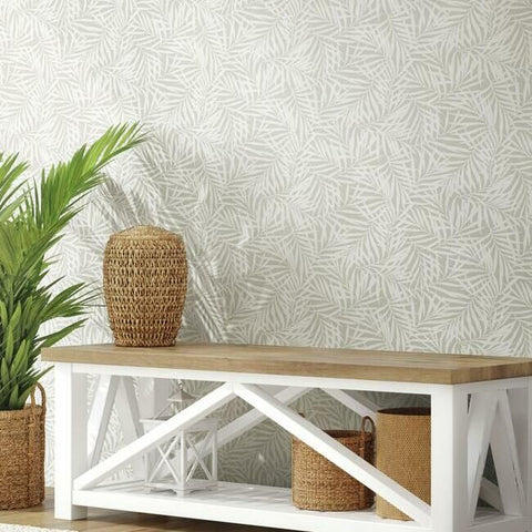 Oahu Fronds Wallpaper in Linen from the Water's Edge Collection by York Wallcoverings