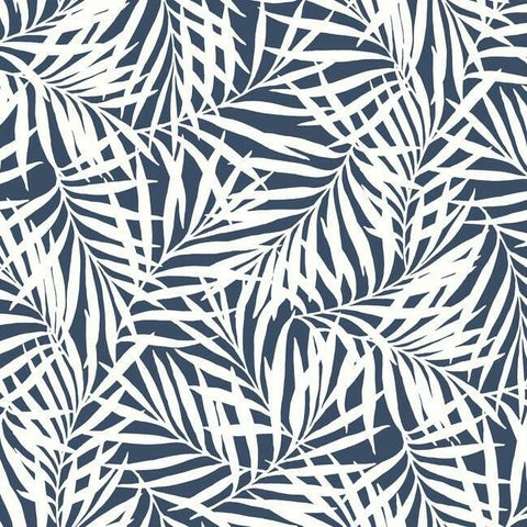 Oahu Fronds Wallpaper in Navy and White from the Water's Edge Collection by York Wallcoverings