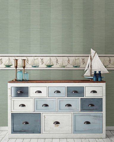 Oakland Faux Grasscloth Stripe Wallpaper from the Seaside Living Collection by Brewster Home Fashions