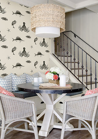 Oceania Black and White Sea Creature Wallpaper from the Seaside Living Collection by Brewster Home Fashions