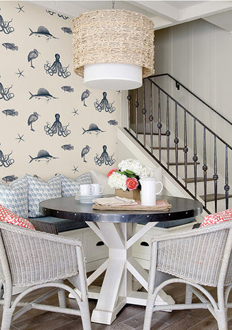 Oceania Navy Sea Creature Wallpaper from the Seaside Living Collection by Brewster Home Fashions