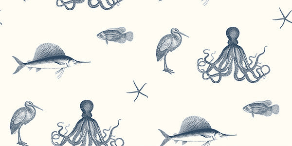 Sample Oceania Navy Sea Creature Wallpaper from the Seaside Living Collection by Brewster Home Fashions