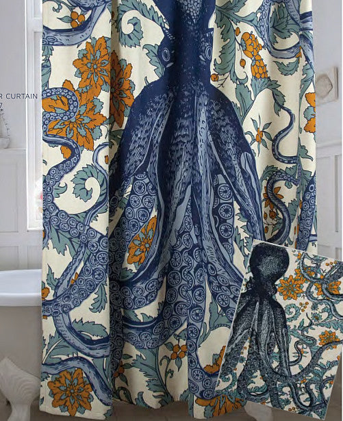 Octopus Vineyard Shower Curtain in Goldenrod design by Thomas Paul