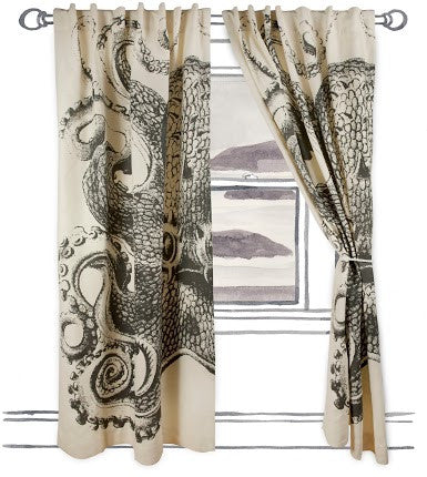 Octopus Window Curtain in Charcoal design by Thomas Paul