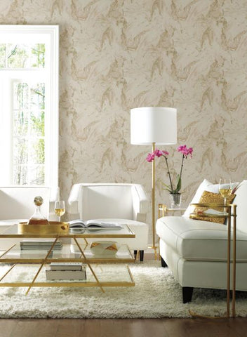 Oil and Marble Wallpaper in Blush and Glint from the Natural Opalescence Collection by Antonina Vella for York Wallcoverings